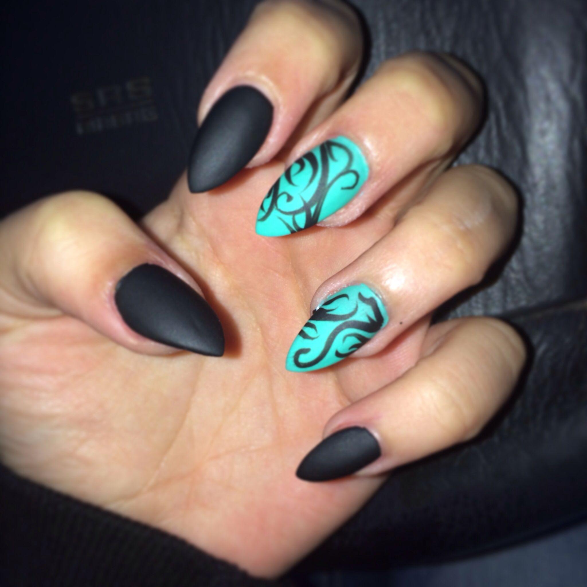 Matte Black And Blue Nails Stilleto Al