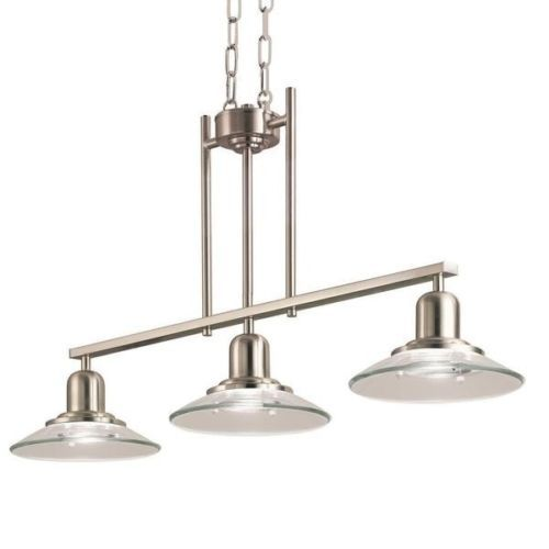 Modern Brushed Nickel 3 Light Ceiling Fixture Chandelier Island Hanging Glass Pool Table Lighting Kitchen Lighting Over Table Kitchen Lighting Fixtures