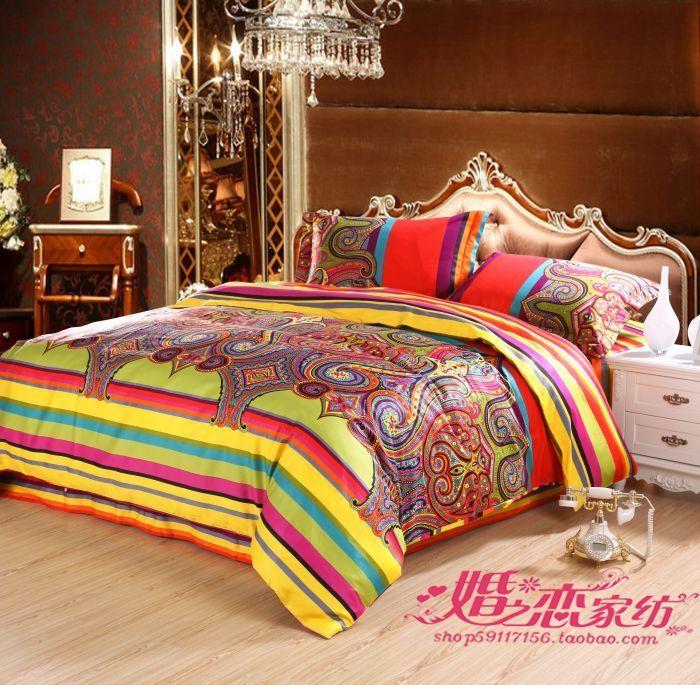 Free Shipping EMS Egypt Style Bedding Set Quality Satin 60 Long Staple  Cotton Bedding Set