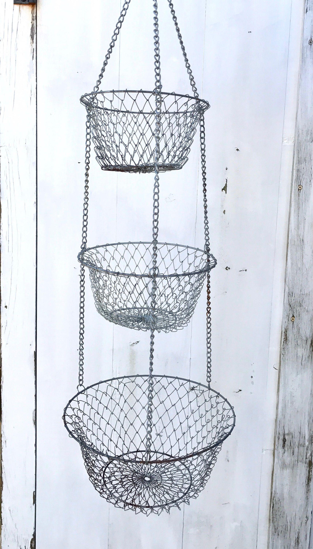 Hanging Fruit Basket | 3 Tier Basket | Wire Mesh | Egg Basket ...