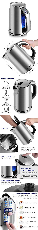 BESTEK Electric Kettle 1.7L Stainless Steel Water Boiler Adjustable ...