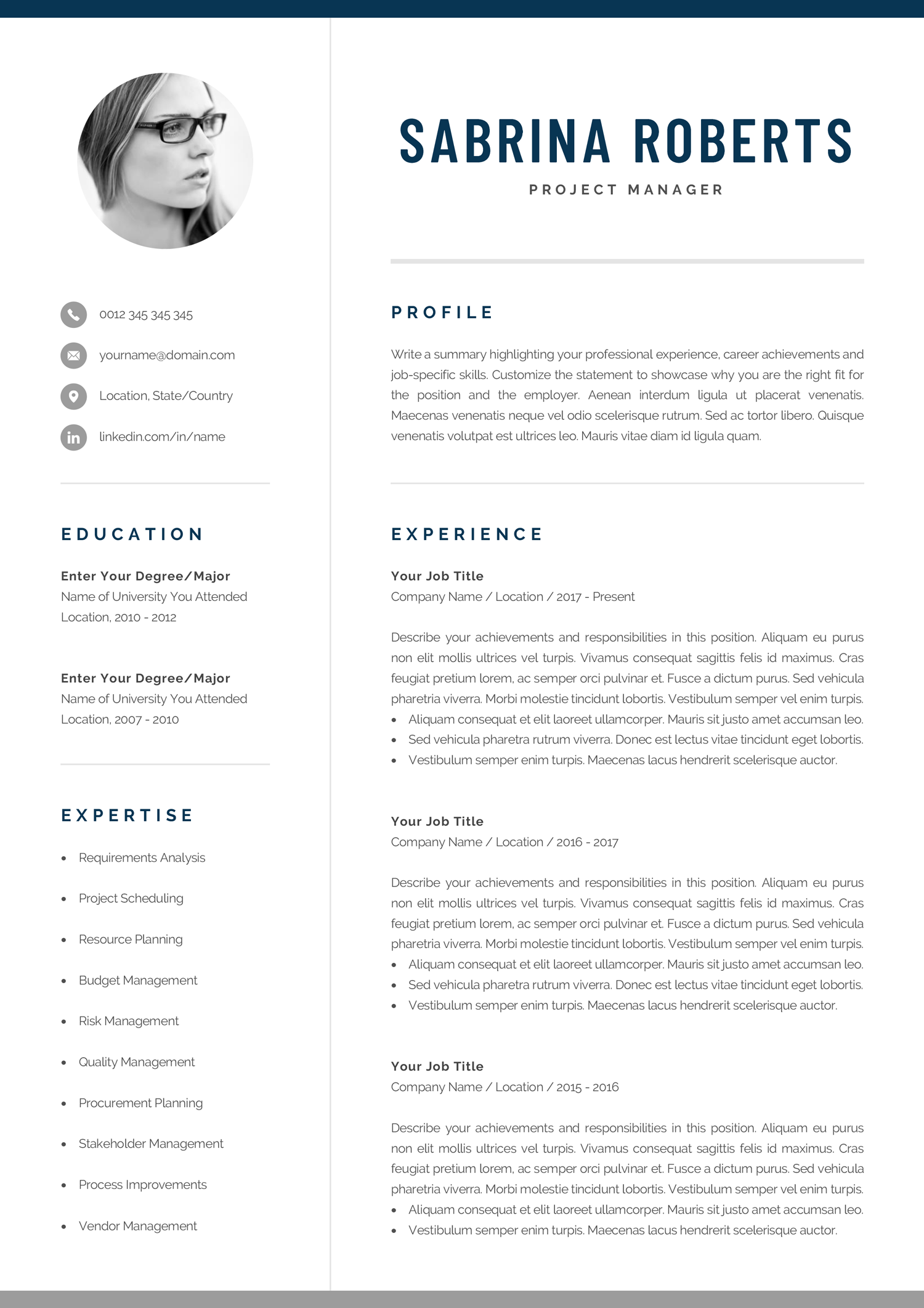Resume Template Professional Resume Cv Template Modern Etsy