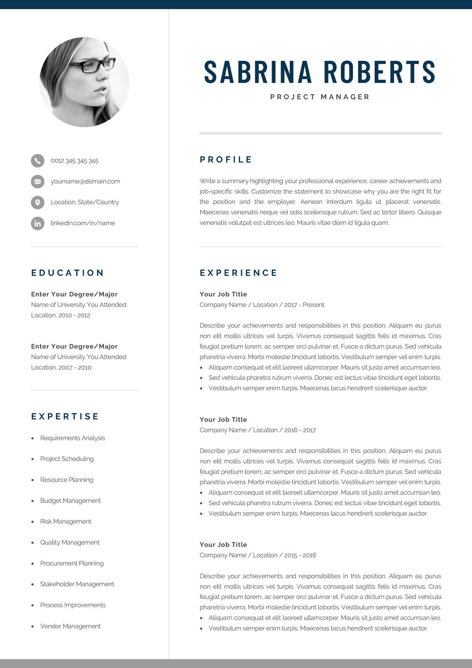 Resume Template Professional Resume Cv Template Modern Resume Resume Template Word Creative Resume Design Manager Cv Sabrina Resume Template Professional Resume Template Resume Template Word