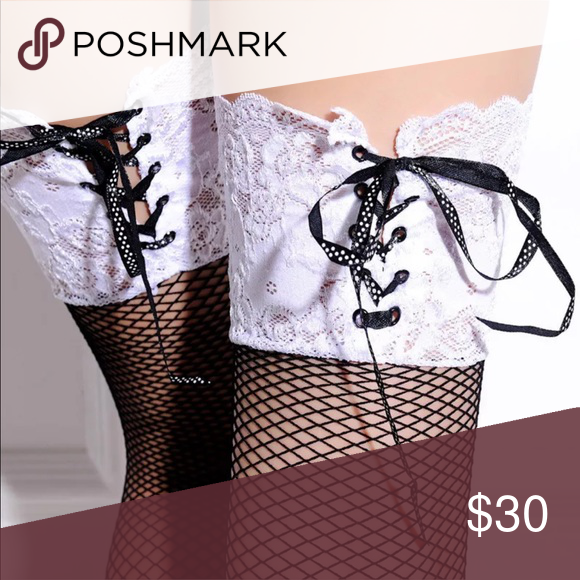 791f5829aff Black white fishnet OTK thigh highs gothic Lolita Sheer fishnet over the knee  socks black with white top corset style tie bow delicate eyelet pattern ...