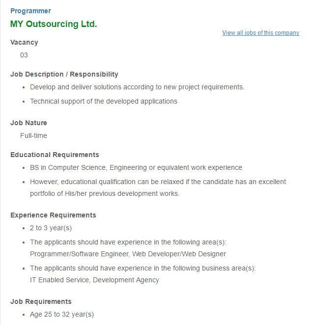 Career u2013 MY Outsourcing Ltd u2013 Programmer MY Outsourcing Ltd is - programmer job description