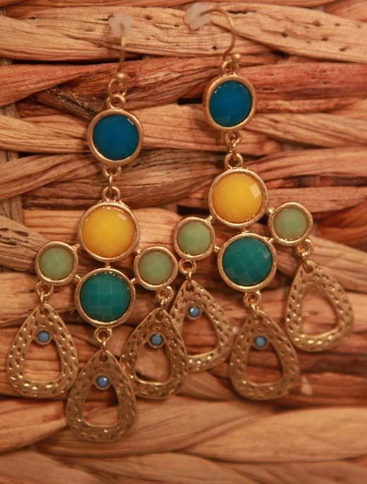 Blue yellow and teal chandelier earrings from southern jewelry blue yellow and teal chandelier earrings from southern jewelry auctions on facebook mozeypictures Images