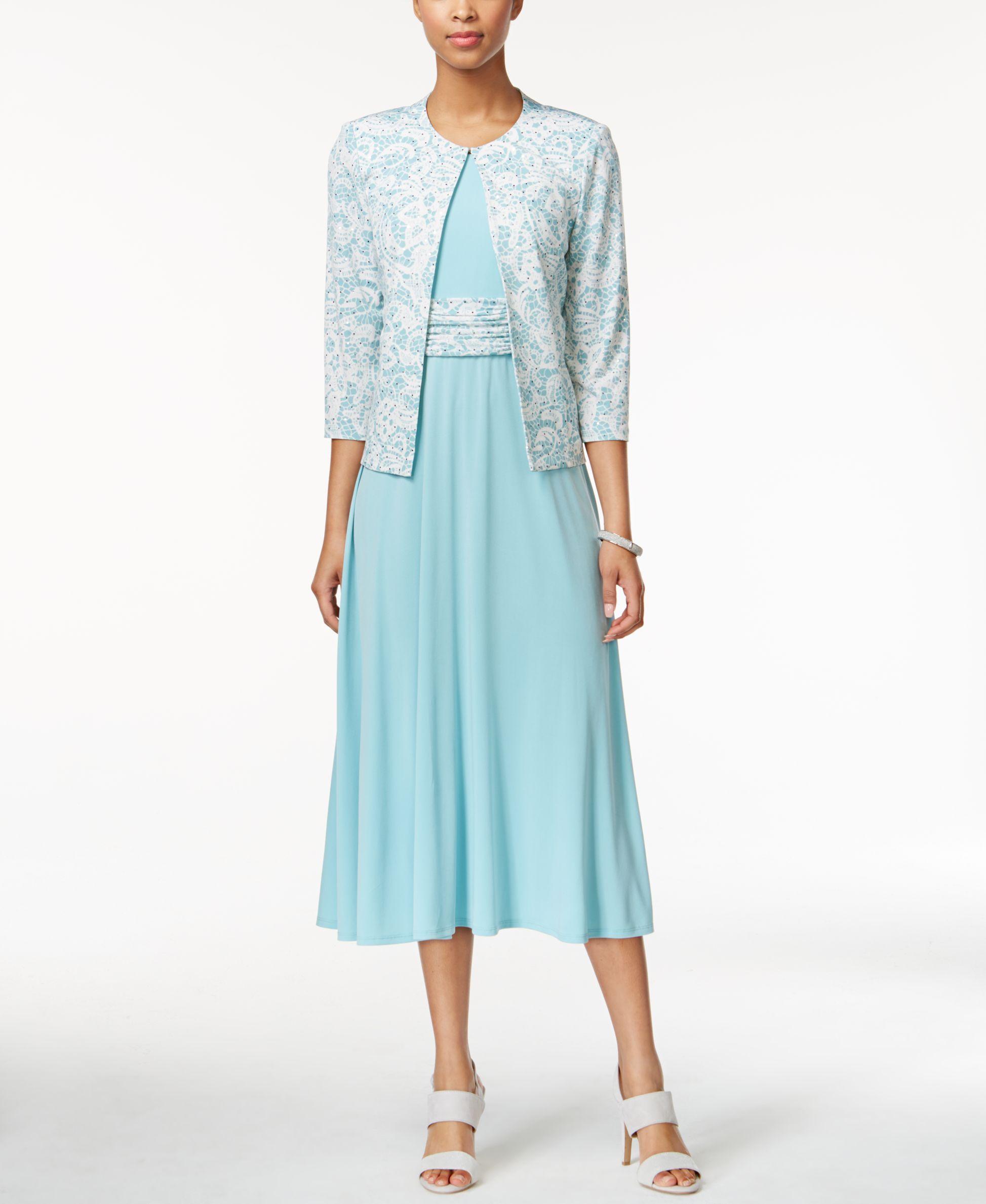 Jessica Howard Empire A-Line Dress and Printed Jacket | Wedding ...