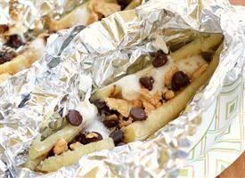 choc banana melt...put toppings in banana and cover with foil. grill or bake at 400 for 5-6 mins