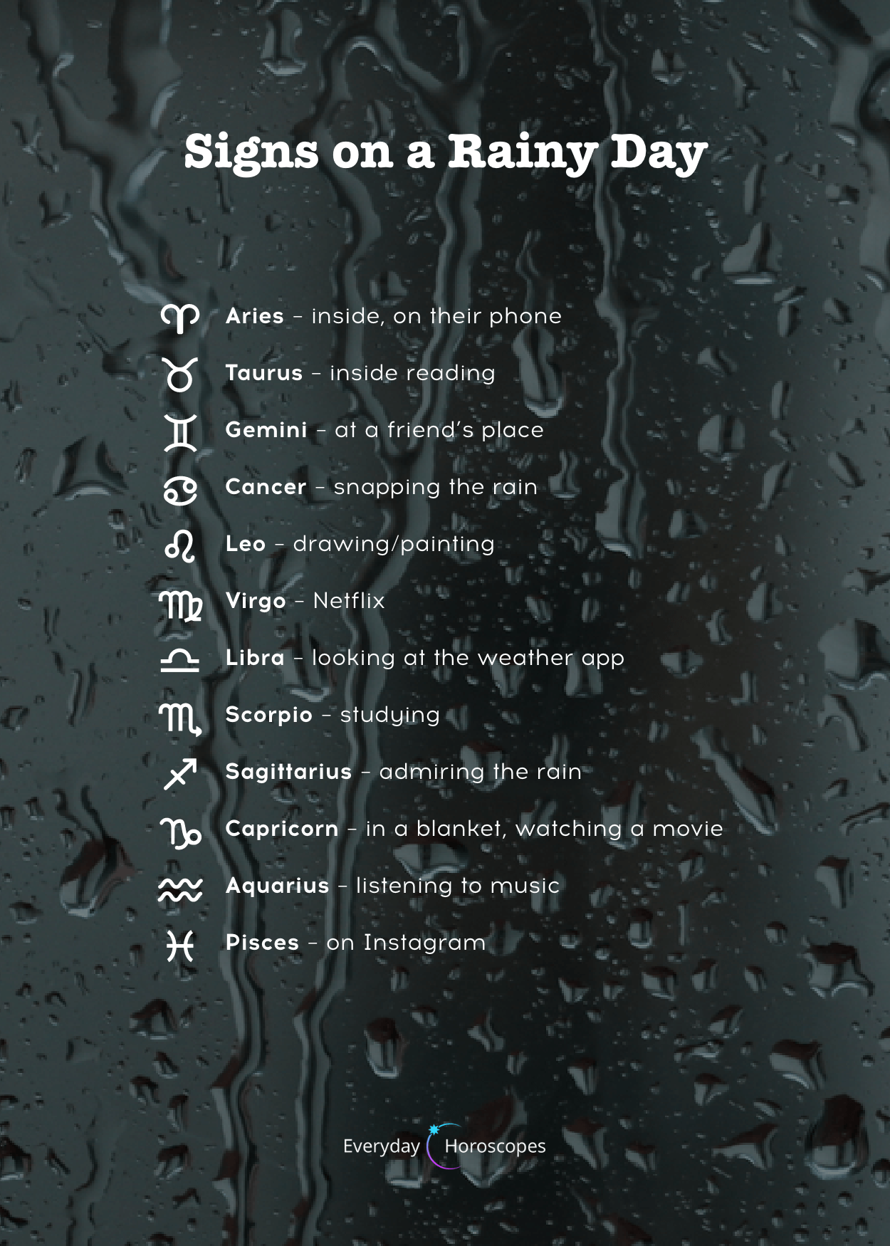 a little more than just horoscope insights #zodiacsigns #dailyhoroscope #todayhoroscope #horoscope #zodiacsigns That's what zodiac signs do on a rainy day. Do you do it too? #zodiacsigns a little more than just horoscope insights #zodiacsigns #dailyhoroscope #todayhoroscope #horoscope #zodiacsigns That's what zodiac signs do on a rainy day. Do you do it too?