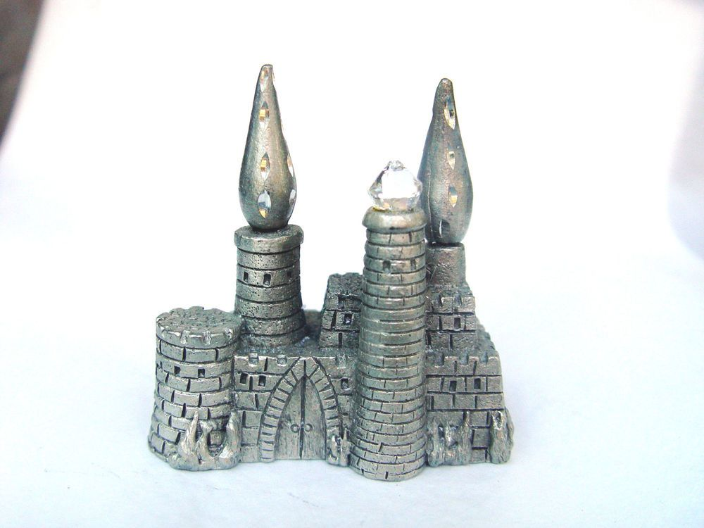 MINIATURE PEWTER SPOONTIQUES M999-CASTLE WITH CRYSTAL   ebay