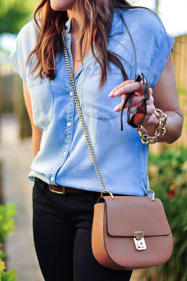 2dc553e58882d Bella Dahl chambray top close up Denim Shirt Outfit Summer
