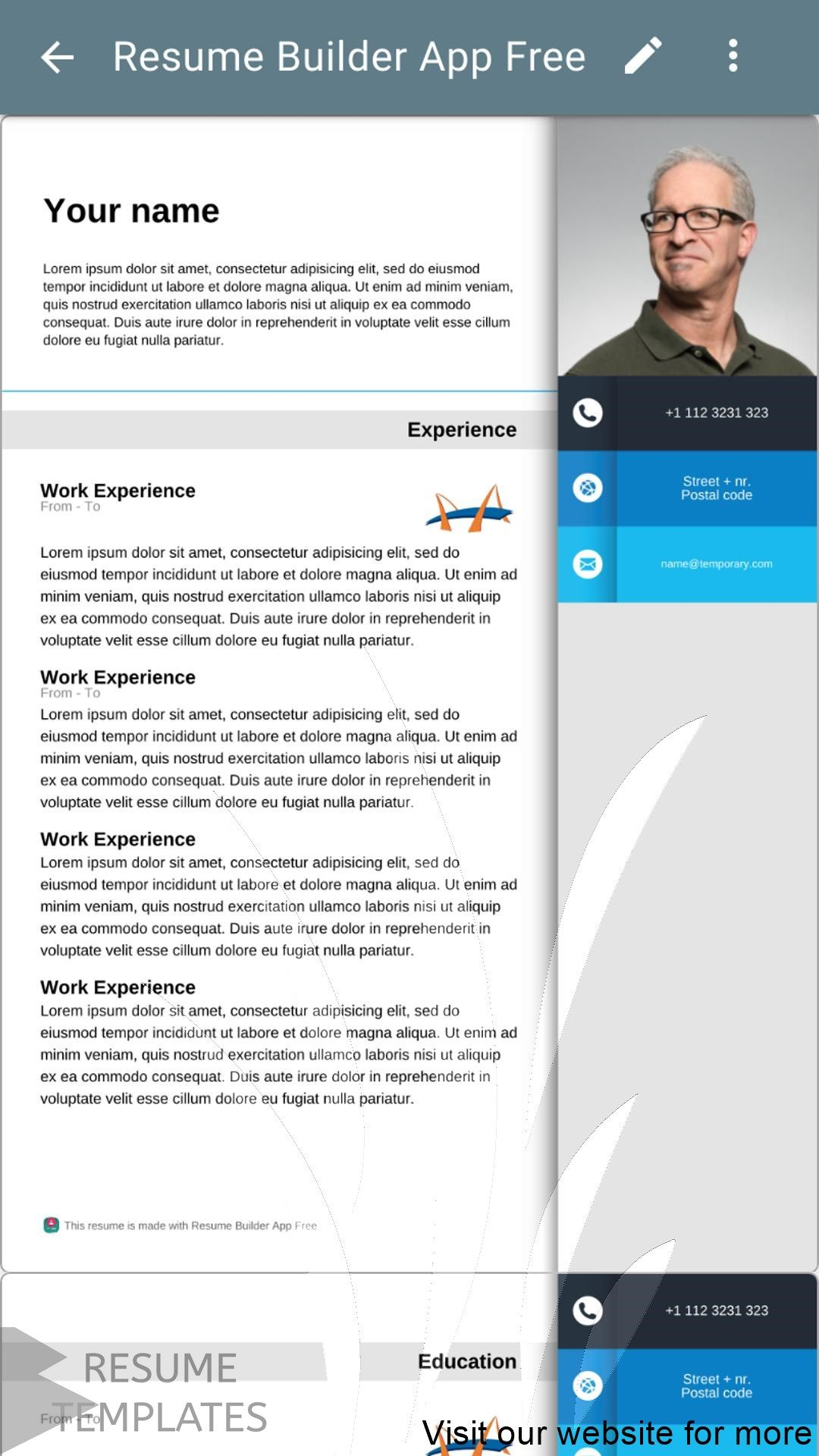 Pin On Resume Template Free