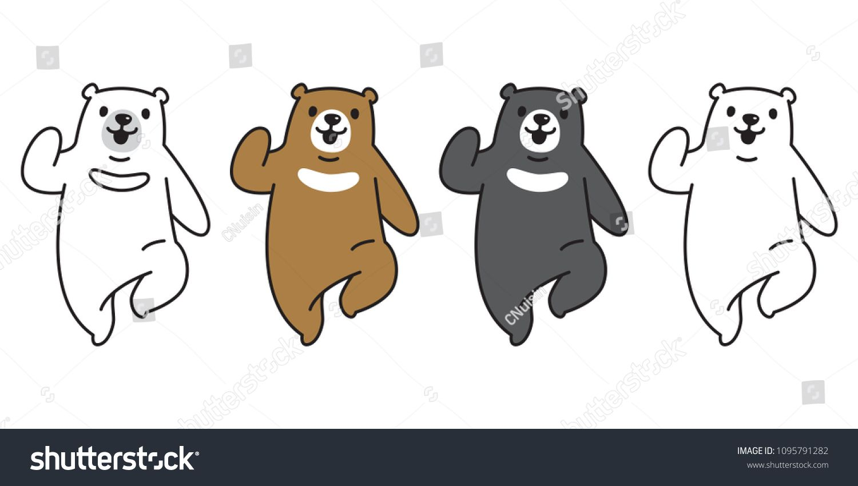 Bear vector polar Bear logo icon run illustration character cartoon