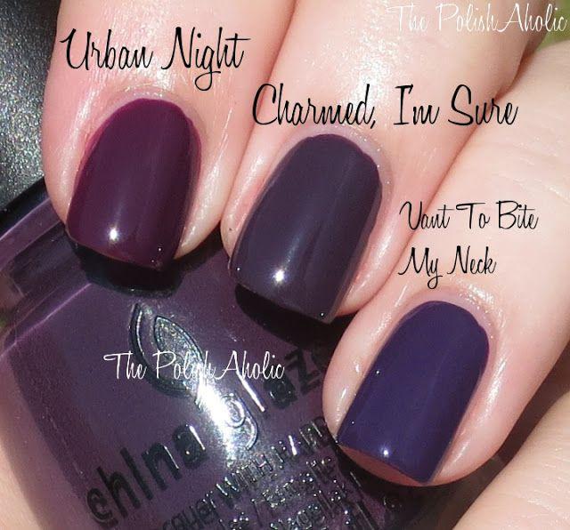 China Glaze Charmed, I\'m Sure vs China Glaze Urban Night vs OPI Vant ...