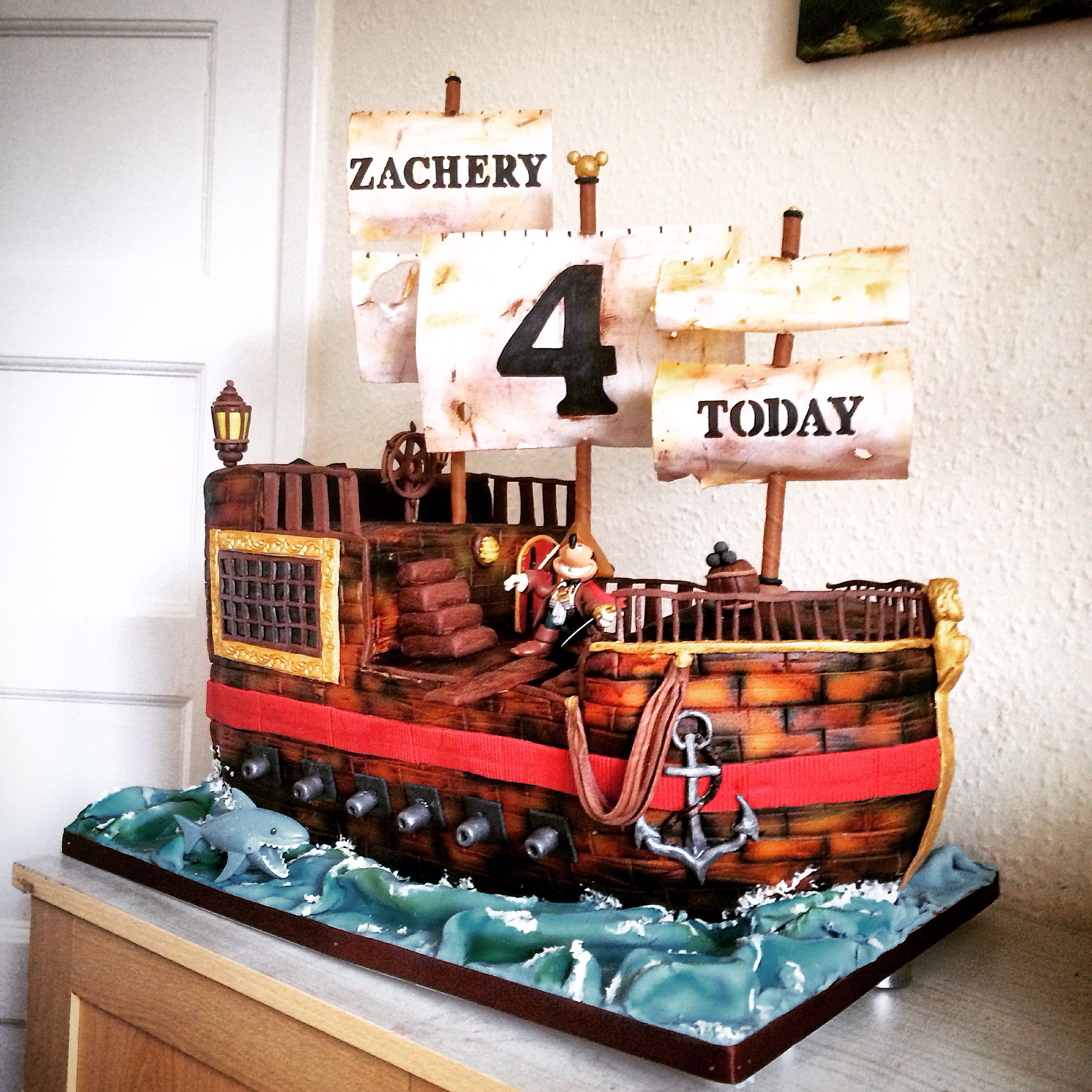 Pirate Ship Mickey Mouse Gluten Free Chocolate Cake 4th Birthday Boy
