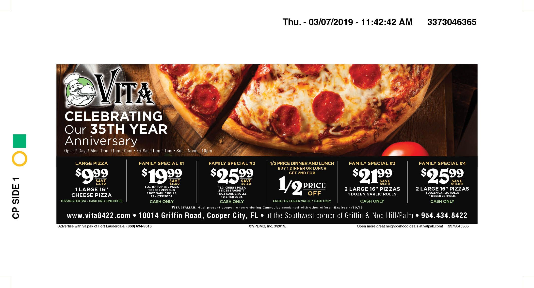Vita Italian Restaurant Pizza In Cooper City Fl Local Coupons March 2019 Restaurant Coupons Italian Restaurant Pizza Coupons