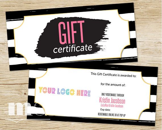 Gift certificate gift card personalized coupon for small business gift certificate gift card personalized coupon for small business lula cash bucks moolah llr black white stripe design printable colourmoves Choice Image