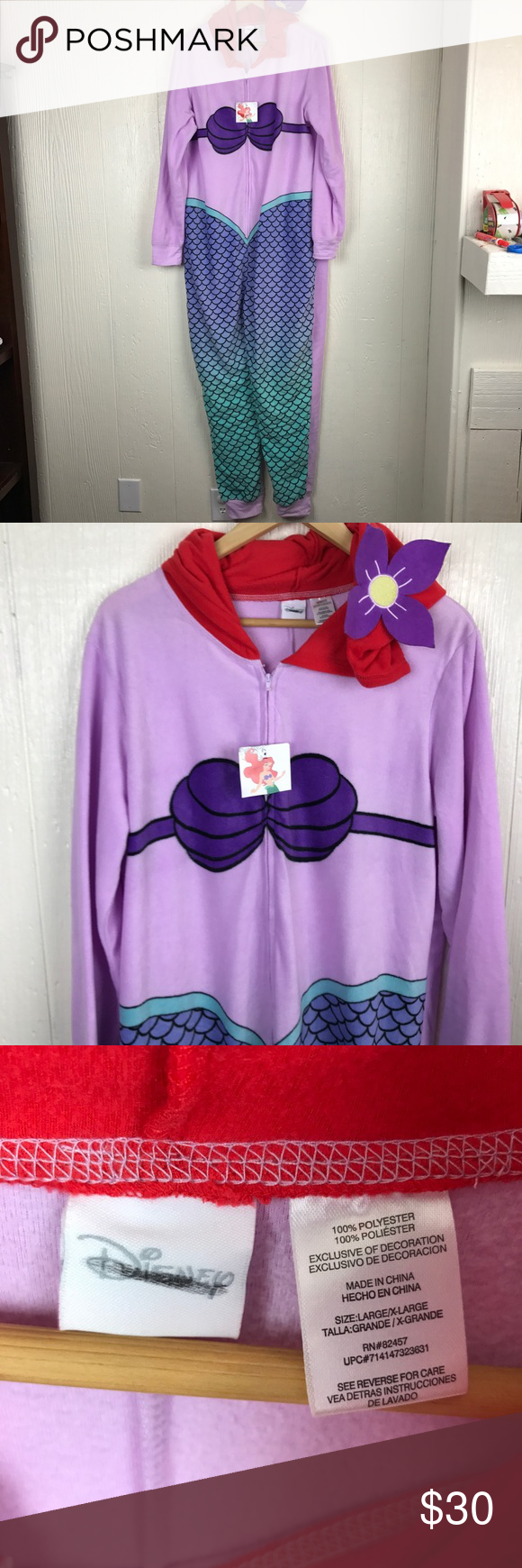 f301630e6b2 Disney Little Mermaid Sleep Suit Pajamas XL Large Nwt pajama suit! Disney  large x