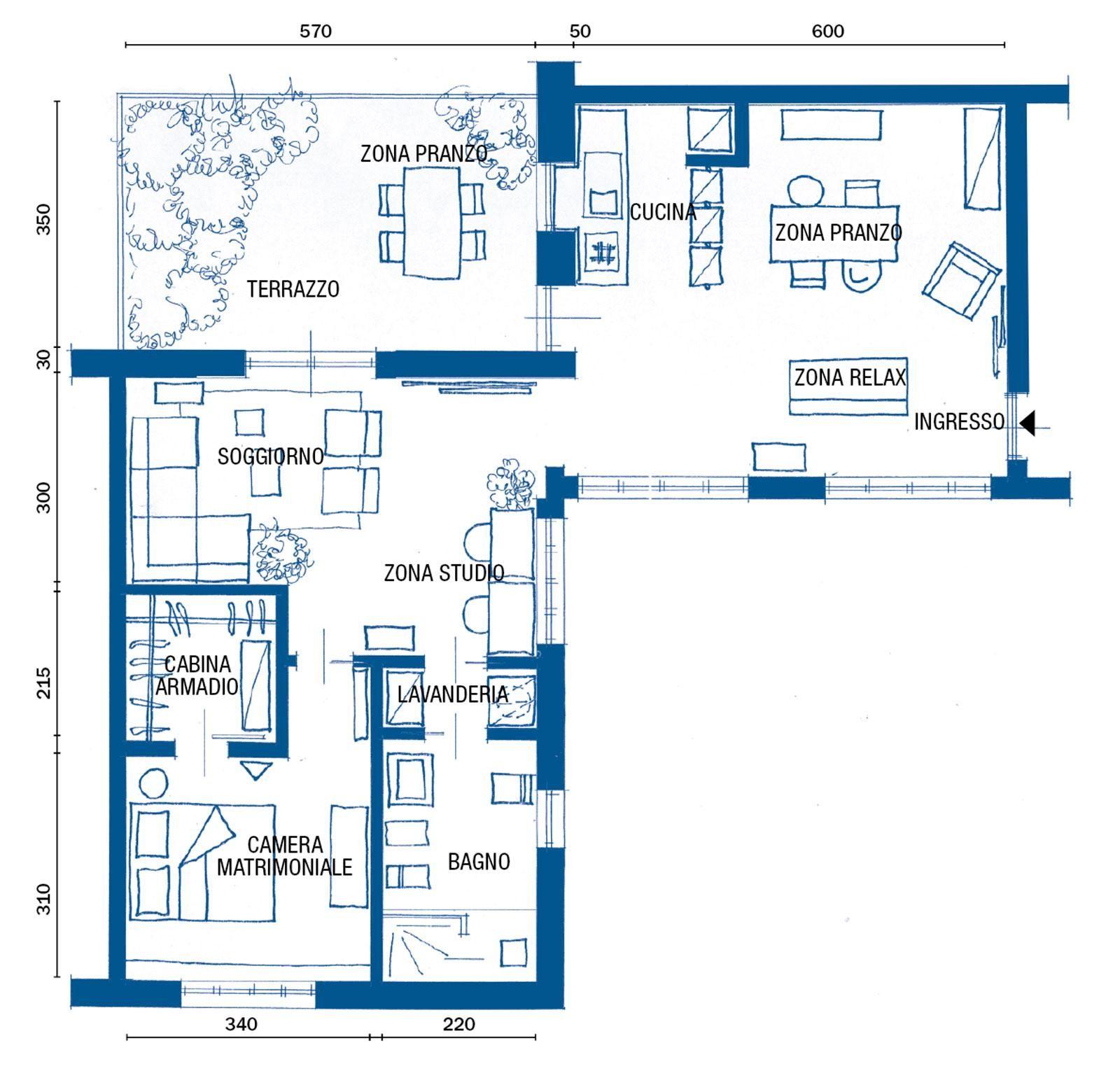 Casa 80 Mq Pianta 80 mq: parquet industriale e stile vintage per gli arredi