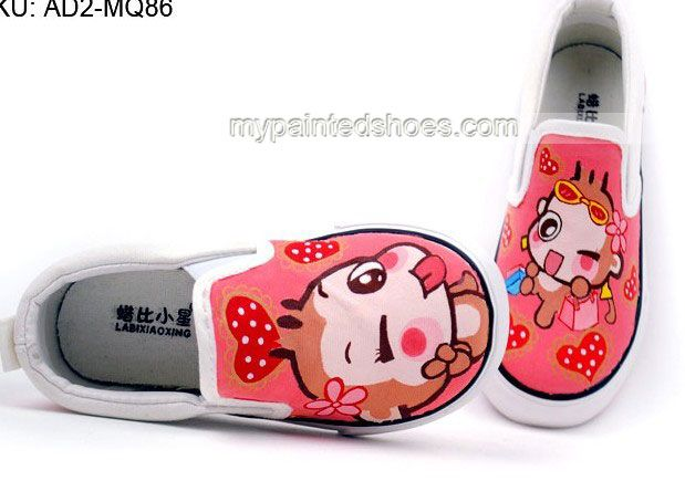 Anime YoCi Monkeys Hand Painted Canvas Shoes,Low-top Painted Canvas Shoes