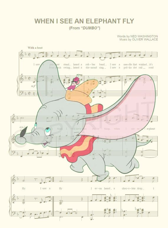 Dumbo Flying Music Art Print by AmourPrints on Etsy
