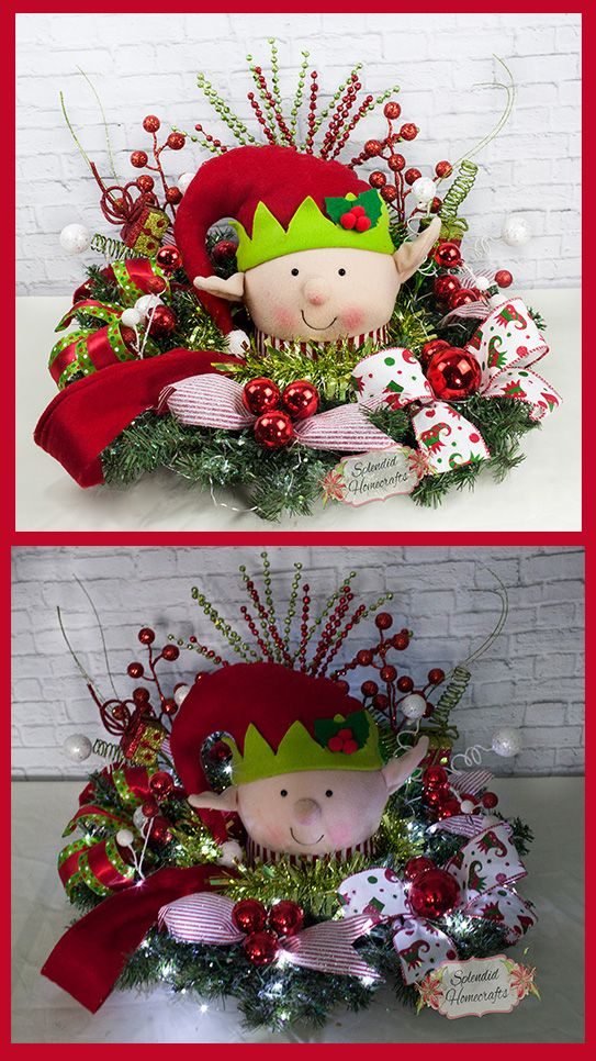 Light up elf centerpiece christmas red hat