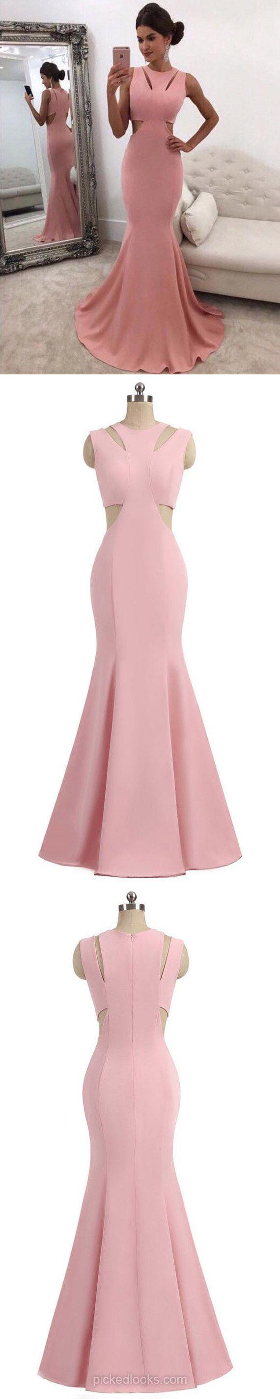 Long ball dresses pink silklike prom dresses mermaid evening