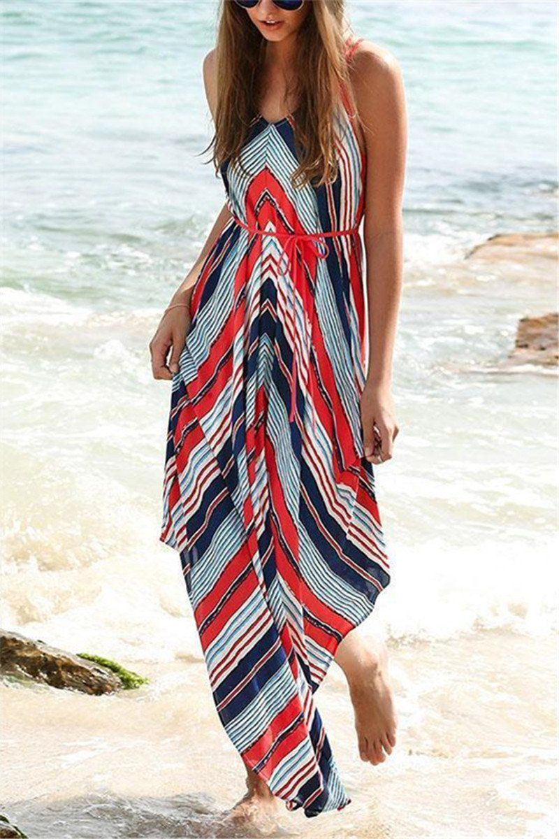 4a8433ea0e3a Shyoin Asymmetric Printed Sleeveless Maxi Dress | Boho chic ...