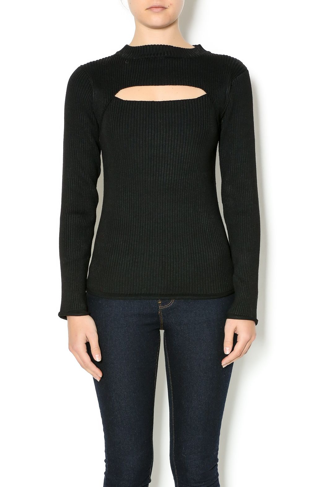 b3c24df659c74 Ribbed top with a mock neck and horizontal slit at the front. Slit Front  Knit Top by Towne. Clothing - Tops - Long Sleeve Long Island