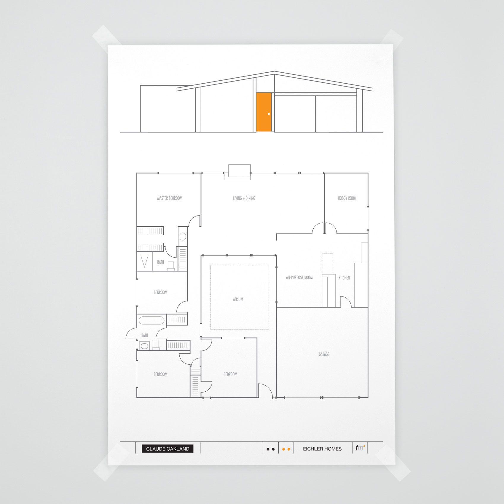 Atrium Model 2 Eichler Claude Oakland Floorplan Fogmodern Com Floor Plans Vintage House Plans Eichler Homes