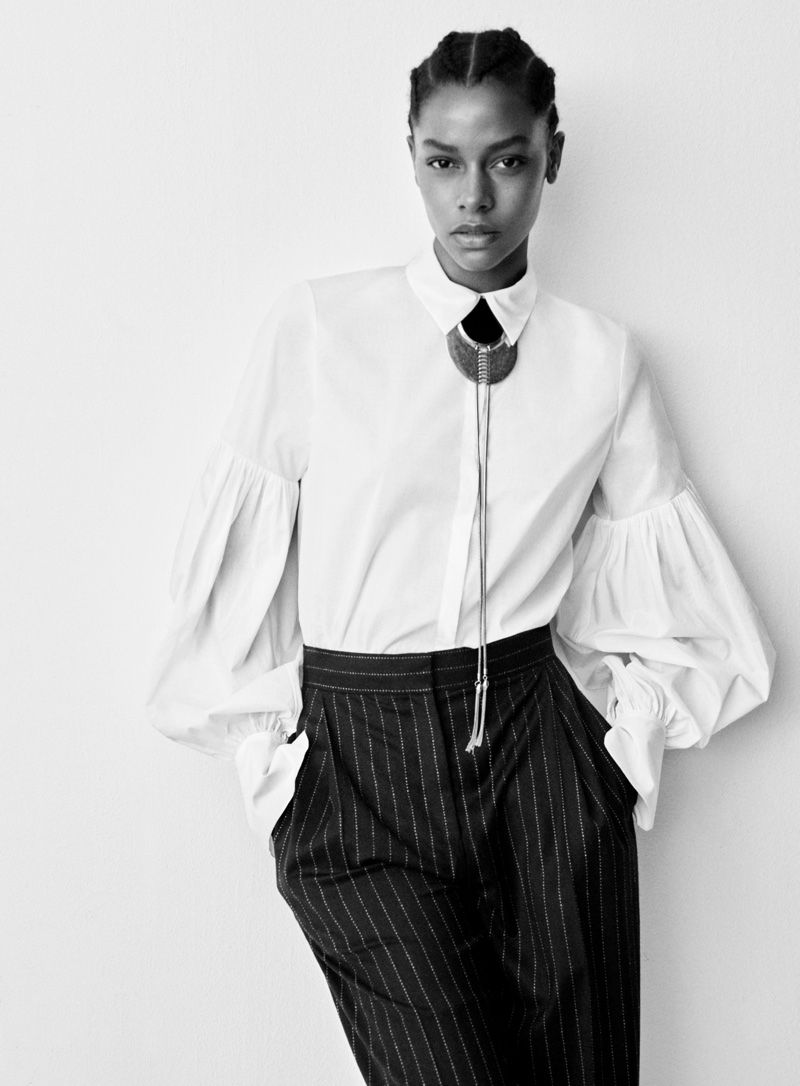 2beefa0b083 H M Studio Fall 2016  Karly Loyce wears white blouse with pinstripe pants