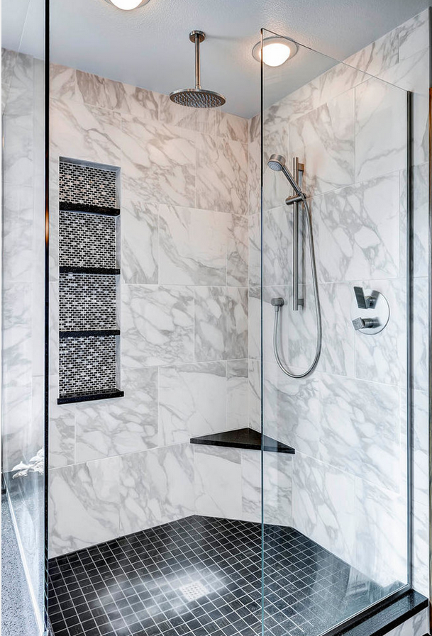 Aquabrass Shower Rainhead, With Chicane Handles. Featured In Bathroom Design  By Christopheru0027s Bath Denver