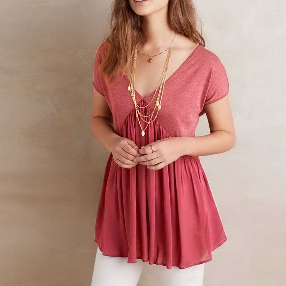 2017 Fashion Women Blusas Sexy V Neck Chiffon Backless T-Shirt ...