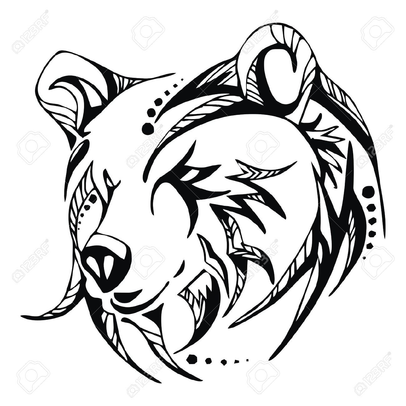 Images For > Grizzly Bear Head Outline | Tribal bear ...