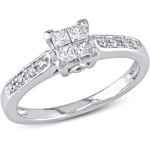 1/4 Carat T.W. Princess and Round-Cut Diamond Engagement Ring in 10kt White Gold