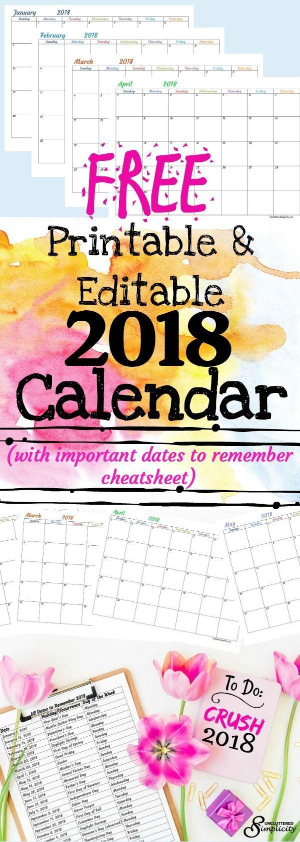 editable 2018 calendar with holidays