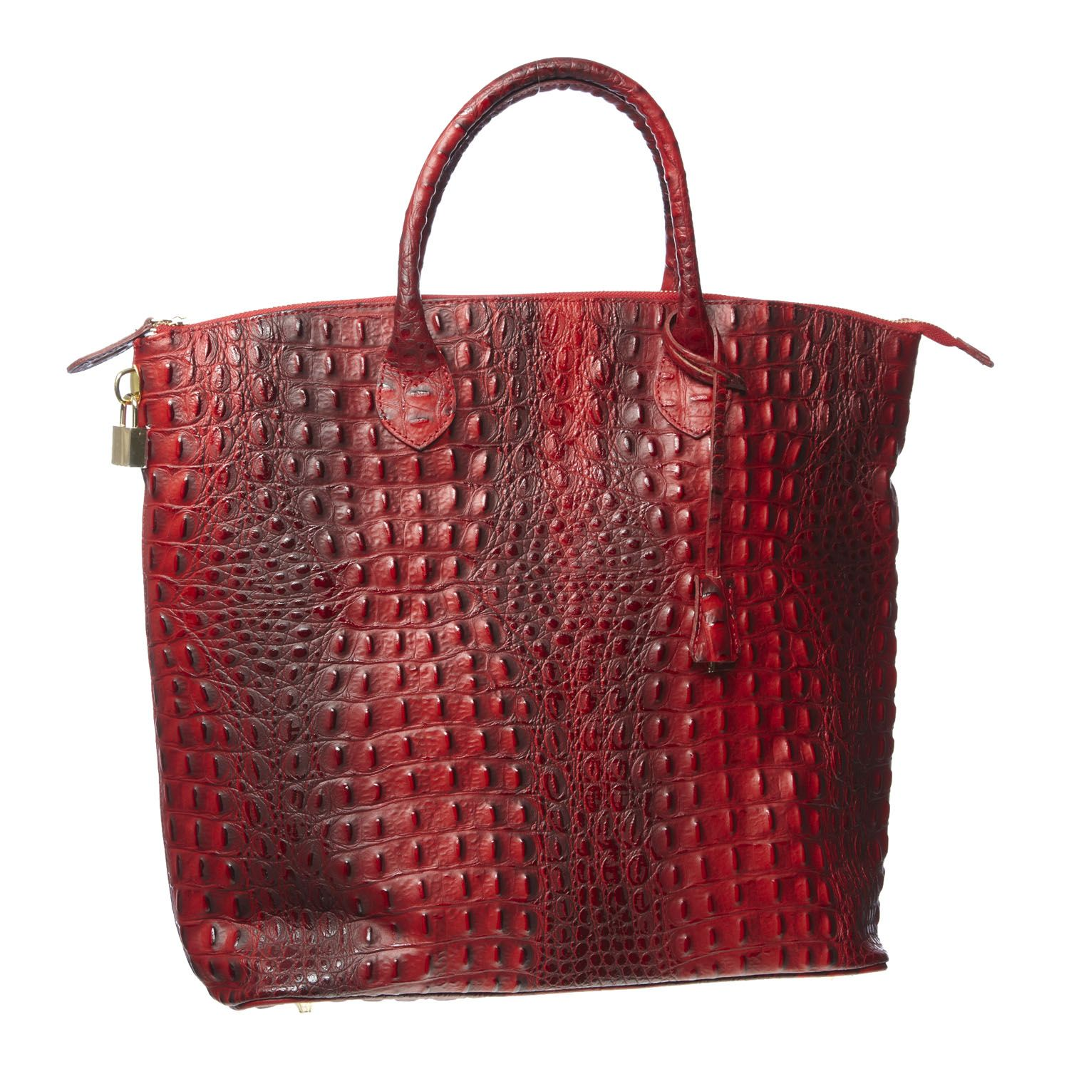 Red Leather Textured Shopper Bag for £64.00 #fabfind