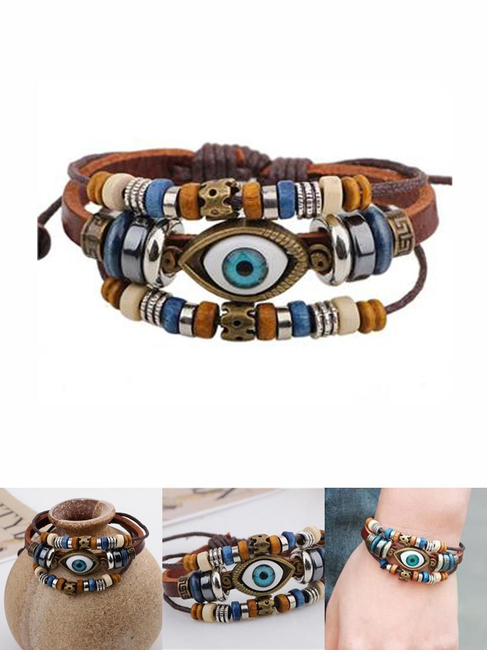 Visit to buy punk design turkish evil eye bracelets wristband
