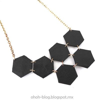 Hexagon leather necklace