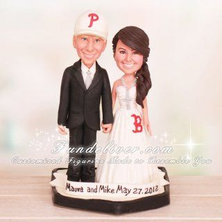Phillies And Red Sox Baseball Wedding Cake Toppers Baseball Wedding Baseball Wedding Cakes Wedding Cake Toppers