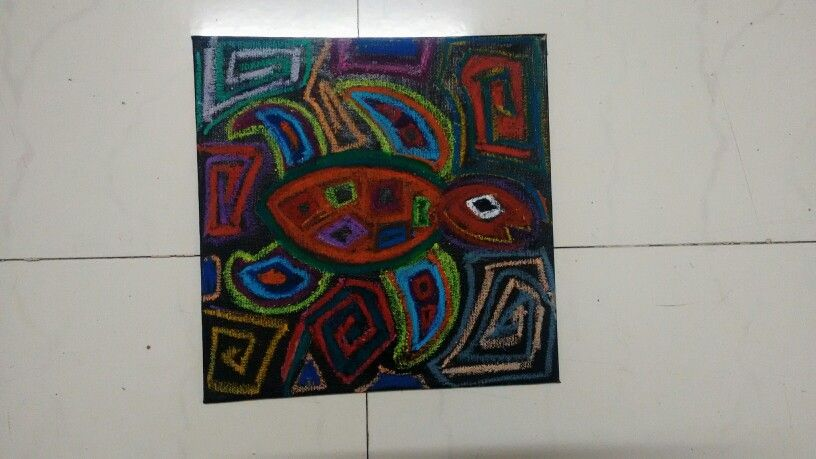 Mola art with oil pastels
