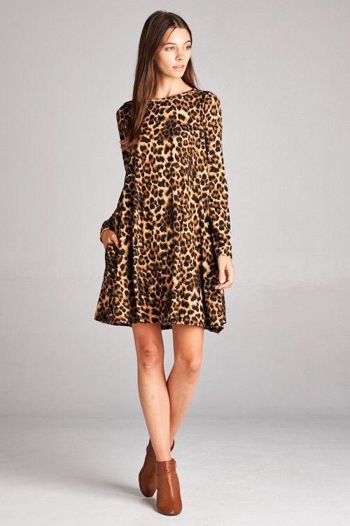 658b3271b01c BOUTIQUE ITEM Bellamie Long Sleeve LEOPARD SWING DRESS Pockets GRE ... |  Trendboost