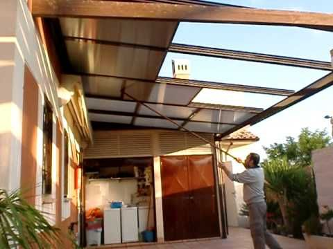 Techo movil policarbonato manual roof garden pinterest for Madera para patios exteriores