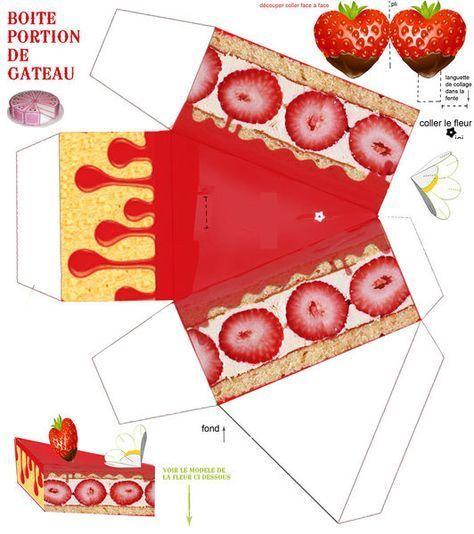 Part de g teau aux fraises har boite a gateau boite en papier et fraise - Gabarit maison en carton ...