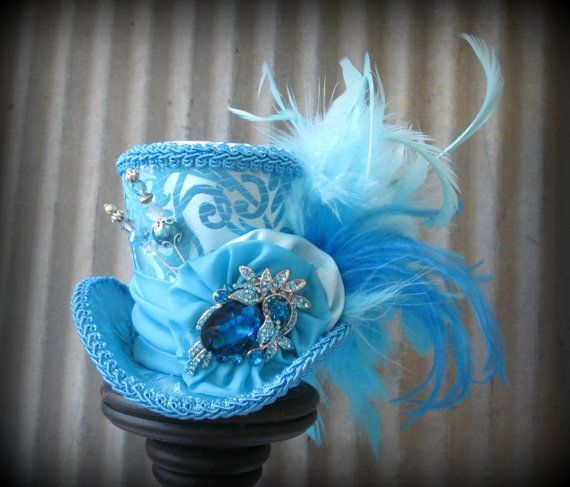 Azul Turquesa Súper Bling Mini Sombrero de Copa, Mini Mad Hatter Hat, Tea Party Hat, Alicia en el país de las maravillas Sombrero superior, Negro Sombrero superior