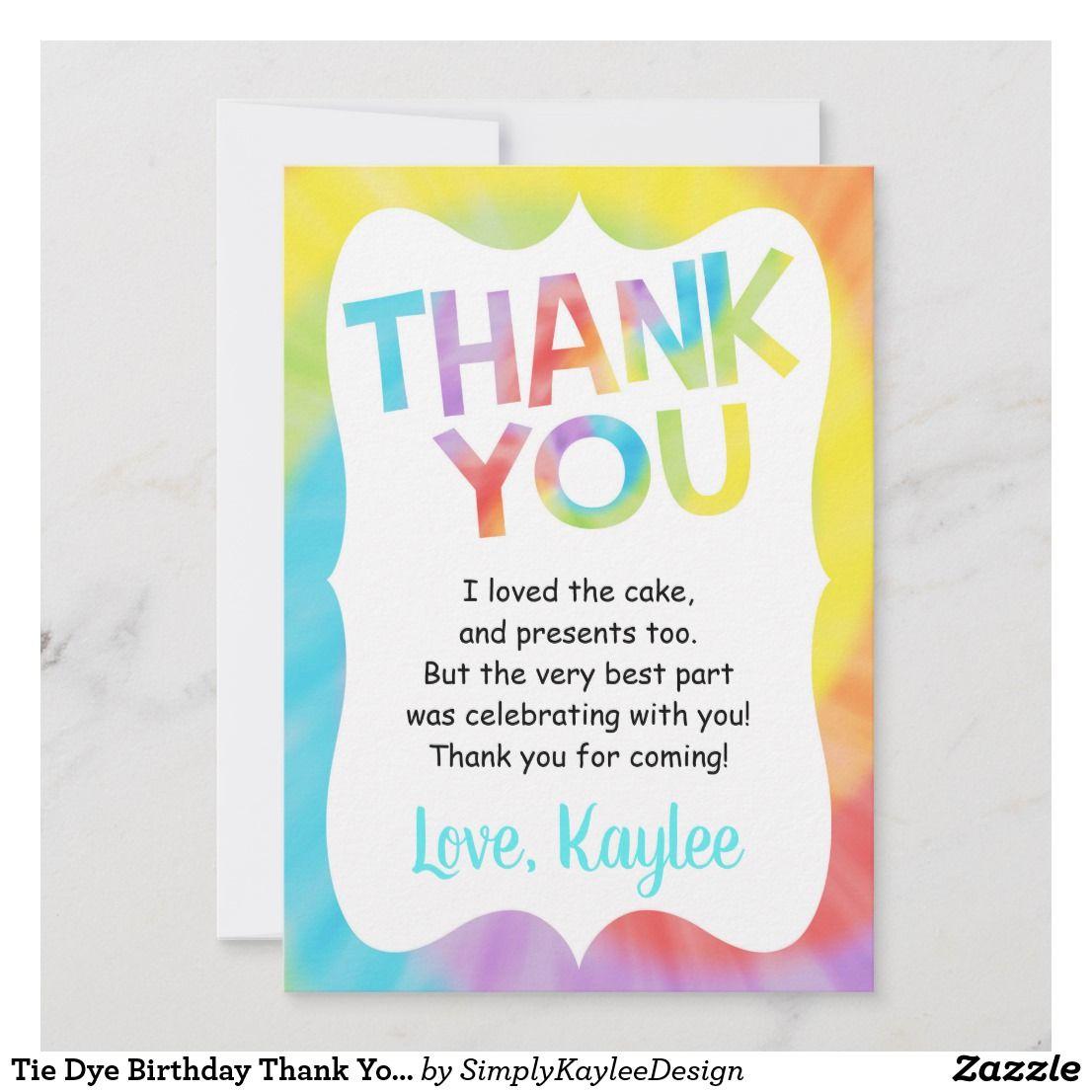 Tie Dye Birthday Thank You Card Custom Holiday Card Tie Dye Birthday Tie Dye Birthday Party