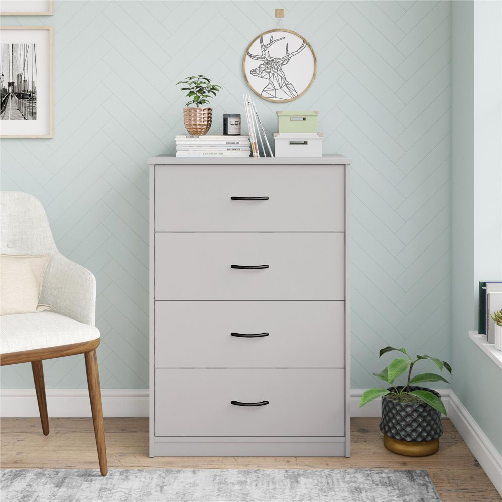 Mainstays Classic 4 Drawer Dresser, Dove Gray Walmart