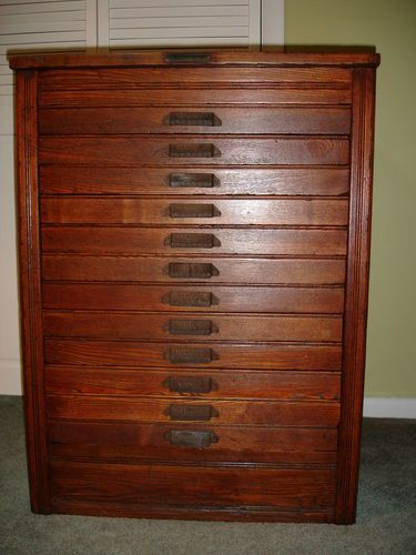 ANTIQUE HAMILTON 12 DRAWER PRINTER CABINET OAK REFINISHED