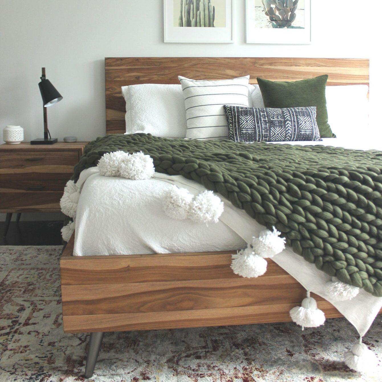 Moss green throw   100% organic merino wool   handmade   EU shipping