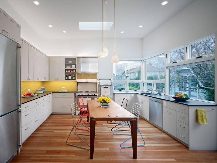 I Like The Painted Yellow Glass Backsplash And How The Kitchen